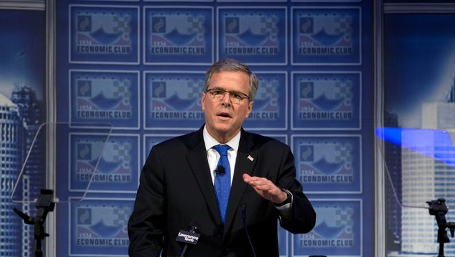 In this Feb. 4 file photo, former Florida Gov. Jeb Bush speaks at a Economic Club of Detroit meeting in Detroit.