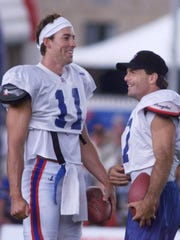 The quarterback competition between Rob Johnson and Doug Flutie never materialized at Fisher because Flutie suffered a groin injury.