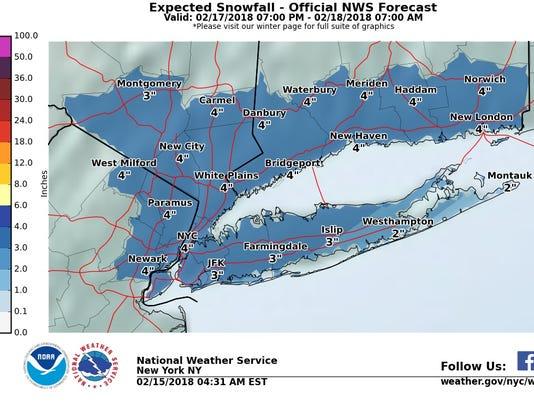 Snow forecast 2-17-18