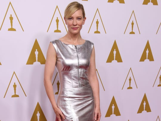 Cate Blanchett arrives at the 86th Oscar nominees luncheon at the Beverly Hilton Hotel in Beverly Hills, Calif.