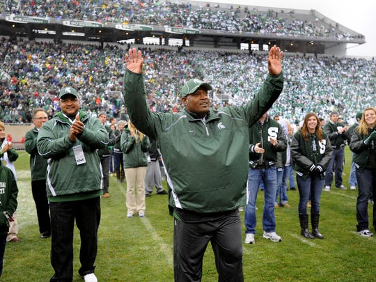 Lorenzo White is honored by the Spartan Stadium crowd Oct. 2, 2010, after being inducted into the MSU Hall of Fame.