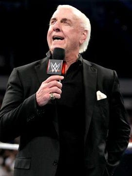 """The Nature Boy"" Ric Flair during a WWE event"