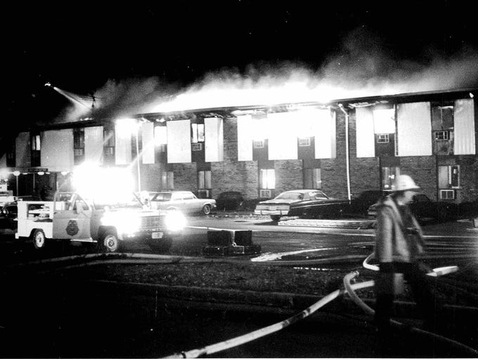 The Greece Holiday Inn fire on West Ridge Road in Greece shortly before the fire peaked on Nov. 26, 1978.