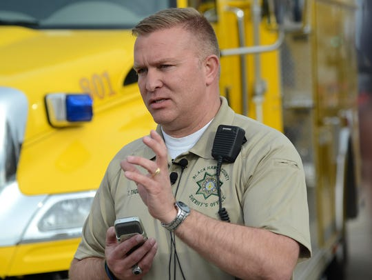 Black Hawk County Sheriff Tony Thompson talks with
