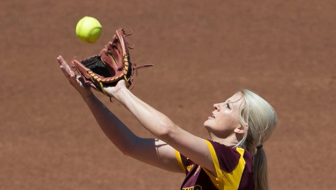 ASU's Kelsey Kessler (44) catches a pop-up against Oregon at ASU Farrington Stadium on April 24, 2016 in Tempe, Ariz. She was taken out in the first inning.