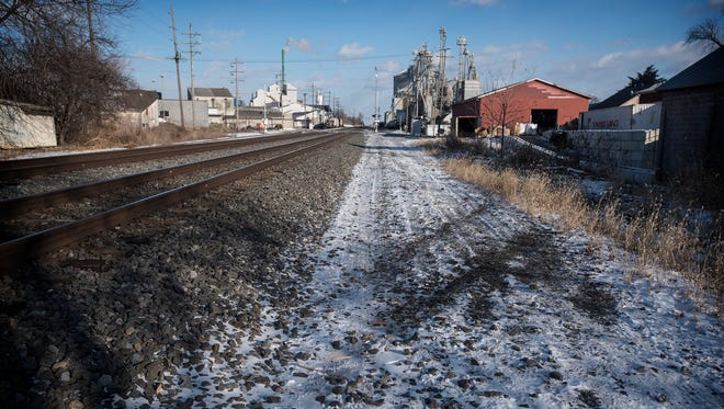 Tracks in the snow remain from an accident between a pick up truck and a train. The truck became stuck on the tracks and was struck by the train. South Lebanon Fire and Fire Police responded to the accident.