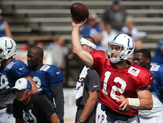 Indianapolis Colts quarterback Andrew Luck throws the ball during training camp, on Saturday, August 2, 2014, in Anderson.