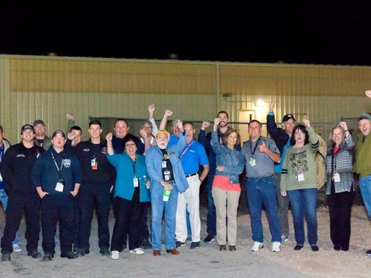 WIPP employees gathered to greet the first shipment to the facility in more than three years on Saturday morning.