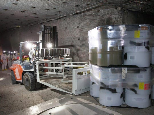 Drums of transuranic nuclear waste are emplaced in packs of seven at the Waste Isolation Pilot Plant.
