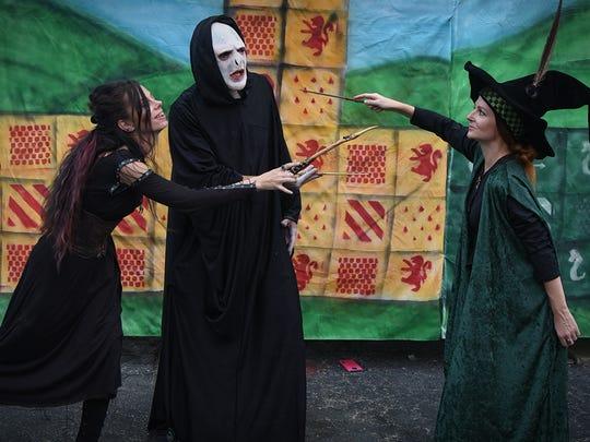 Professor MacGonagall battles Voldemort and Bellatrix Lestrange at the 2017 Hogwarts on Del Prado festival in Cape Coral.