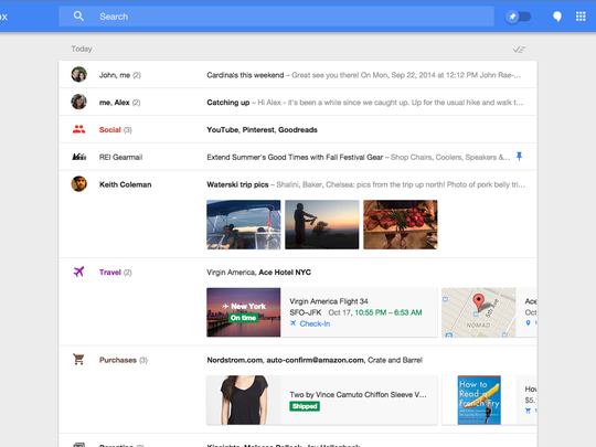 Google's new e-mail product, Inbox, on the desktop.