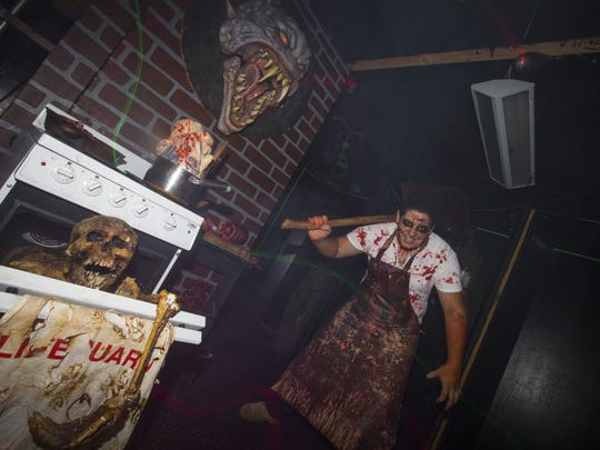 The butcher, played by Gabriel Blaksley, takes up residence