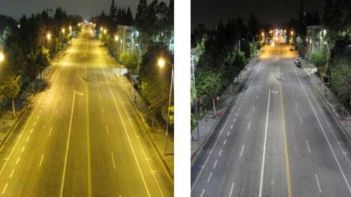 An illustration shows brightness levels increasing on a road where LED lighting was added (photo on right).