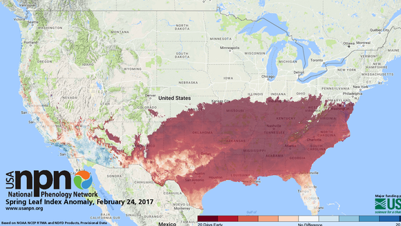 In 2017, we see very large anomalies in the southeastern