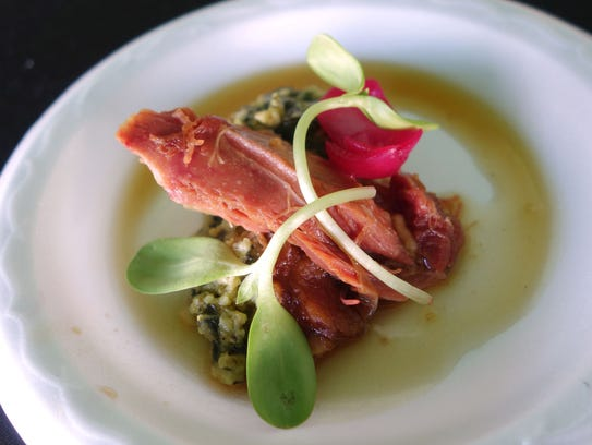 RC Cola-braised ham hock with kale onion spoon bread