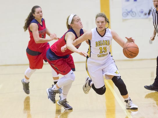 Delone's Elise Knobloch runs down the court while being