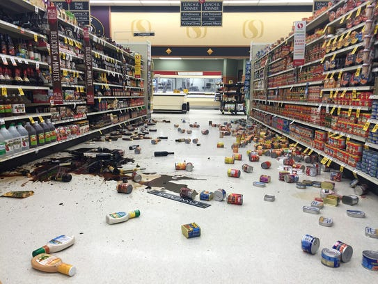 The inside of a Safeway grocery store following a magnitude