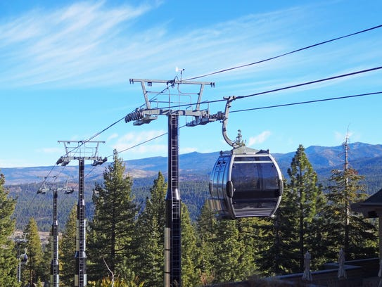 A gondola approaches the summit in Lake Tahoe, California.