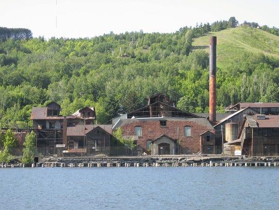 A former smelter is shown beside the Portage Canal