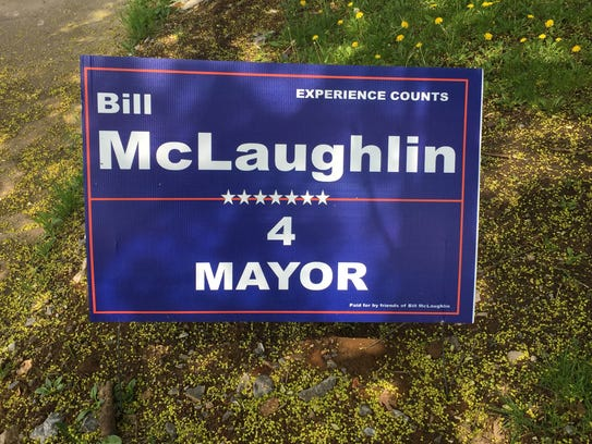 A Bill McLaughlin campaign sign is seen on Philadelphia