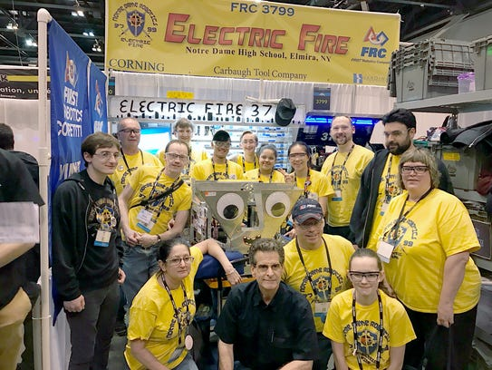 Notre Dame Electric Fire #3799 surround their robot