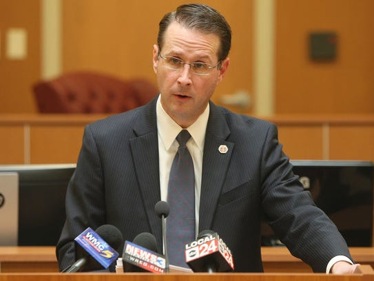 District Attorney General Mike Dunavant speaks at a