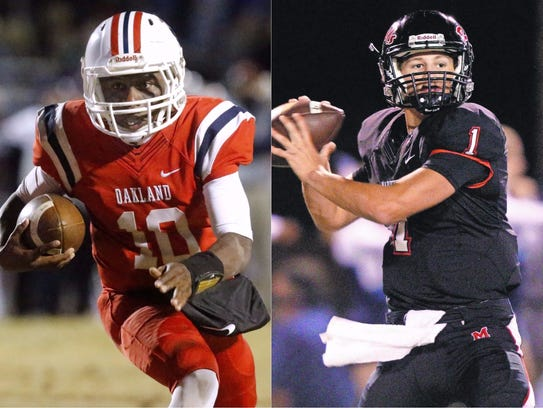 Oakland quarterback Timmy Goodrich (left) and Maryville