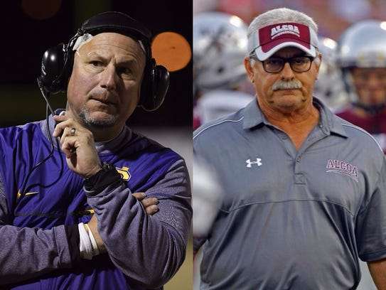 Covington coach Marty Wheeler (left) and Alcoa coach