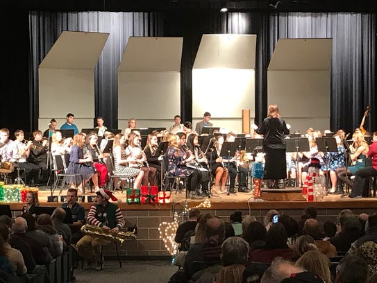 The Mauston High School Cheese Head Band at their holiday concert and chili supper.