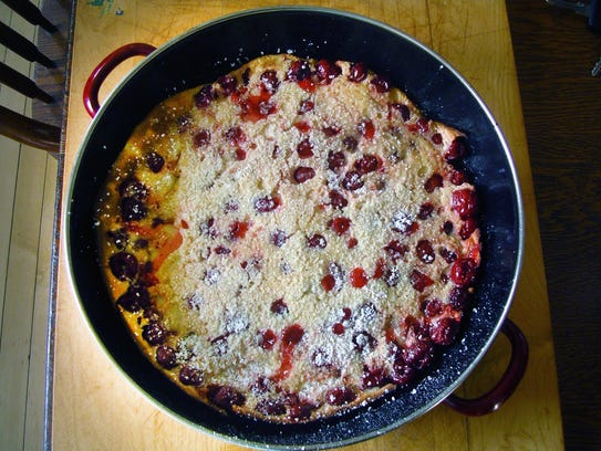 Cherry Dutch Baby is an easy oven dessert chock-full