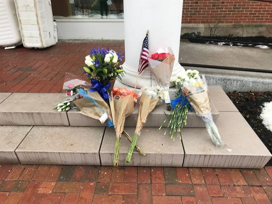 Flowers were left at police headquarters in Westerville,
