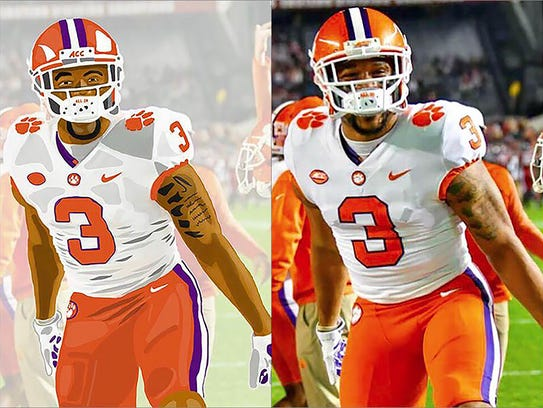 A side-by-side comparison of Clemson defensive end