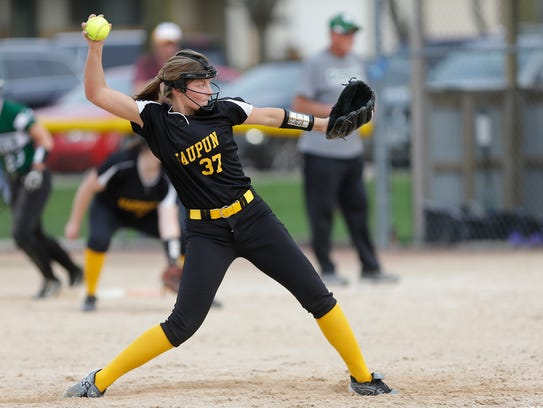 Waupun's Megan Van Ruiswyk pitches against Kewauskum during a May 8 game.