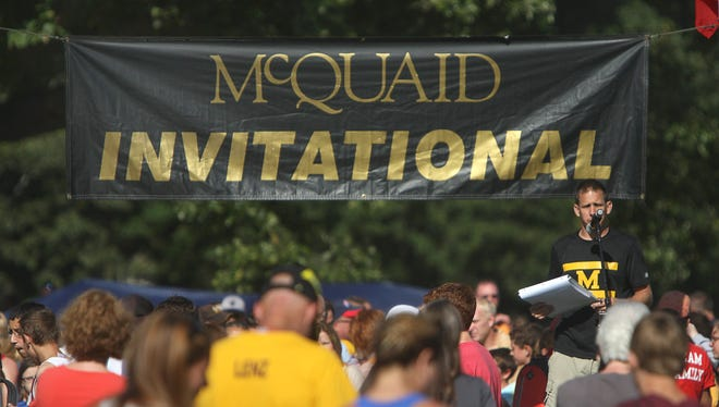 Winners are called up for award presentations during the McQuaid Invitational at Genesee Valley Park in Rochester.
