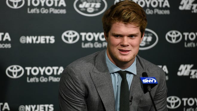 Jets first-round draft pick Sam Darnold at Atlantic Health Jets Training Center on Friday, April 27, 2018.