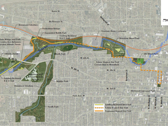 The B&O bike trail would be rerouted around the new