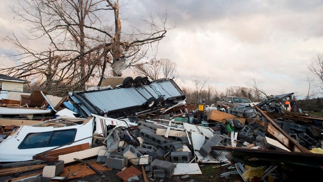Tornado damage along Richmond Highway in Appomattox County is shown on Wednesday, Feb. 24, 2016.