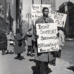 Detroiters demonstrate downtown during the 1960s to boycott a chain's segregated lunch counters down South. Some Republicans want to protect business owners' right to discriminate against gay people.