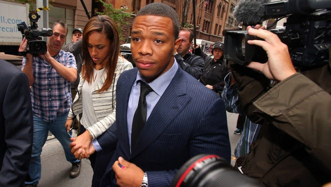 Nov 5, 2014; New York, NY, USA; Suspended NFL running back Ray Rice arrives with his wife, Janay Rice for his appeal hearing on his indefinite suspension from the NFL.