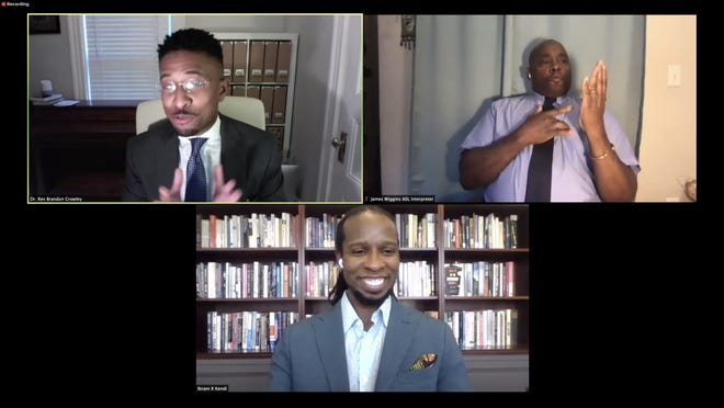 """Ibram X. Kendi, author of """"How to Be an Anti-racist,"""" virtually attended the kickoff event of Overdue: Confronting Race and Racism in Newton on Aug. 13. Pictured from left, top row: Rev. Brandon T. Crowley; James Wiggins, ASL Interpreter. Bottom row: Ibram X. Kendi."""