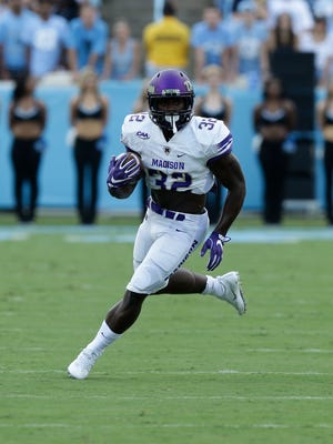 Running back Khalid Abdullah and James Madison are No. 1 in the CAA and No. 4 nationally in FCS with 512.3 yards per game of total offense.