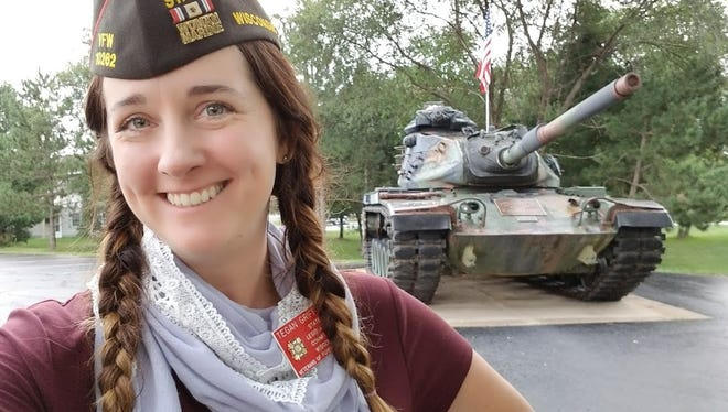 Tegan Griffith, 33, joined the Marines in 2005 and was deployed in Iraq in 2008. She's a member of the Plover chapter of the Veterans of Foreign Wars.