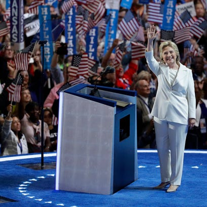 Democratic presidential candidate Hillary Clinton takes