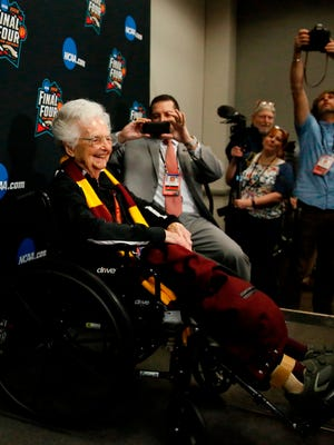 Loyola's Sister Jean Dolores-Schmidt arrives at a news conference for the Final Four on Friday.