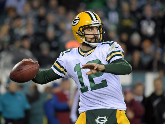 Green Bay Packers quarterback Aaron Rodgers (12) throws a pass against the Philadelphia Eagles during a NFL football game at Lincoln Financial Field.The Packers defeated the Eagles 27-13.