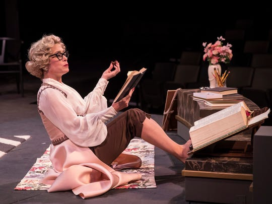 "Reading is fundamental for Colleen Madden in ""Born Yesterday,"" performed by American Players Theatre."