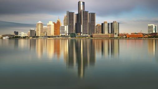 The Detroit skyline.