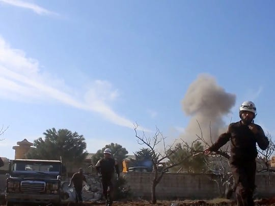 This image taken from video provided by the Syrian
