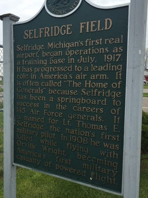 A historical marker at Selfridge Air National Guard Base, which will celebrate its centennial next year with events and an air show in August 2017.