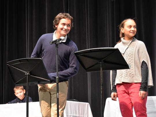 Reece Ratliff (left) won the school-level competition of the National Geographic Bee at Tower Hill School.